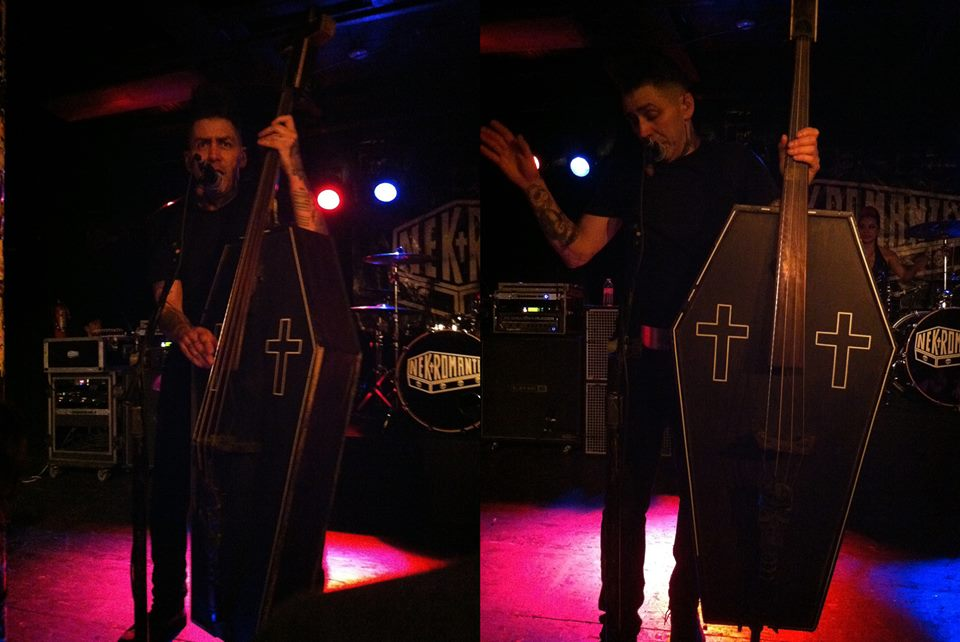 Psychobilly bassist Kim Nekroman of the Nekromantix made his own bass out of a child-sized coffin. Photos by Maggie Molloy.
