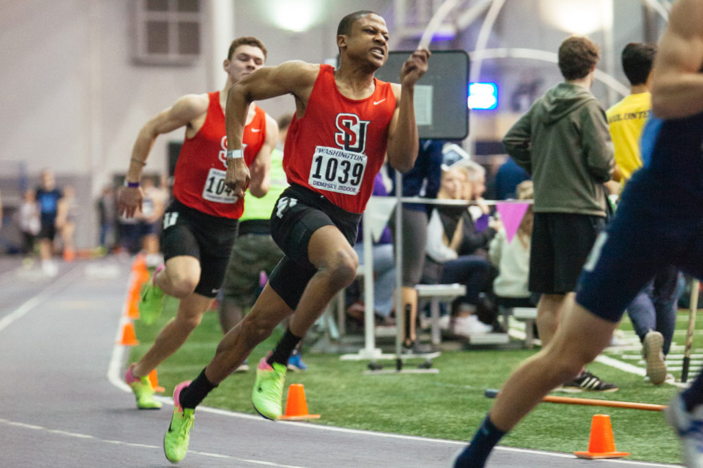Keith Beasley and Steve Brown during the men's 200m dash.